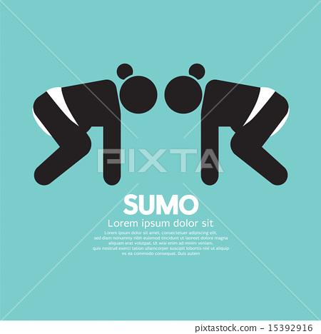 Black Symbol Graphic Sumo Fighting 15392916