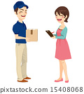 Woman Receiving Mail Package 15408068