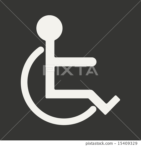 Flat in black and white mobile application wheelchair 15409329