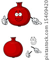 Happy red pomegranate fruit giving a thumbs up 15409420