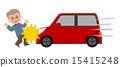 남성과 빨간 자동차 사고 15415248
