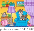 Room with cat on armchair 15415782