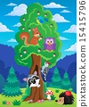 Tree with various animals theme 2 15415796
