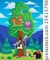 Tree with various animals theme 2 15415796