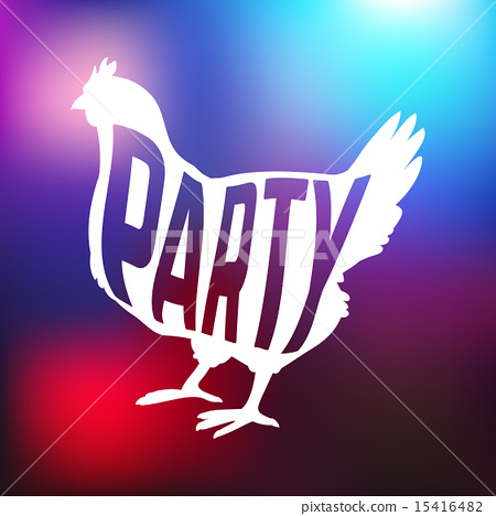 Hen party logotype with chicken silhouette and text 15416482