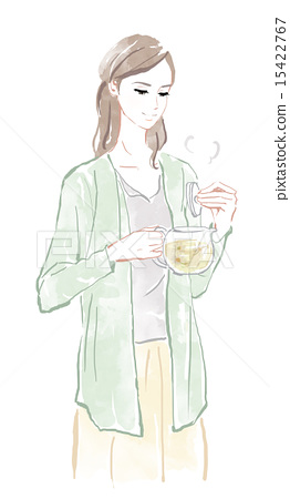 拿著茶的婦女 15422767