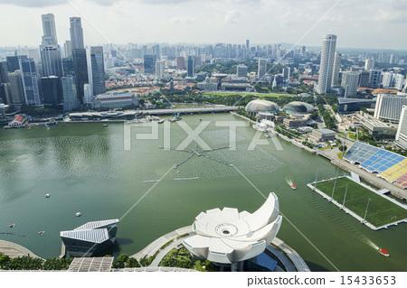 싱가포르 샌즈 스카이 파크에서 내려다 마리나 지역 15433653