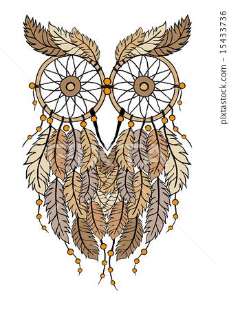 dreamcatcher owl, hand-drawn illustration 15433736