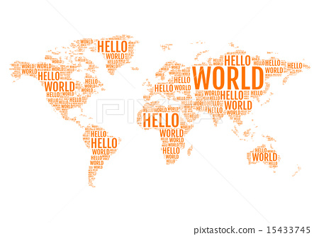 Hello world typographic world map vector stock illustration hello world typographic world map vector gumiabroncs Image collections