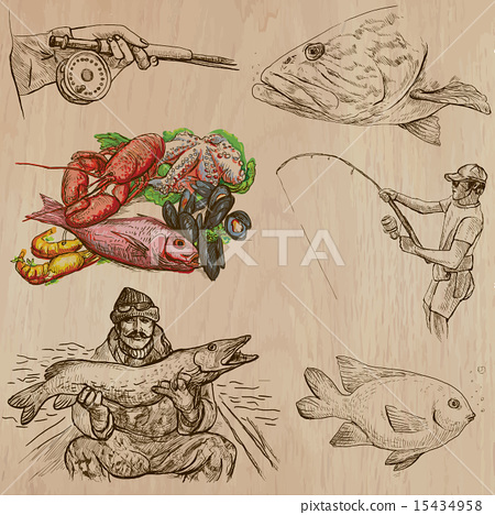 Stock Illustration: Fishing - An hand drawn vector pack