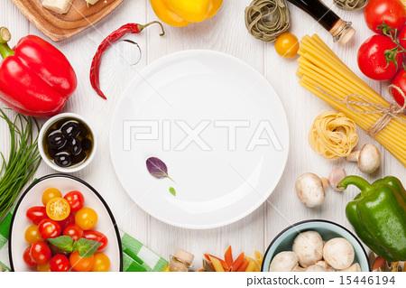 Stock Photo: Italian food cooking ingredients. Pasta
