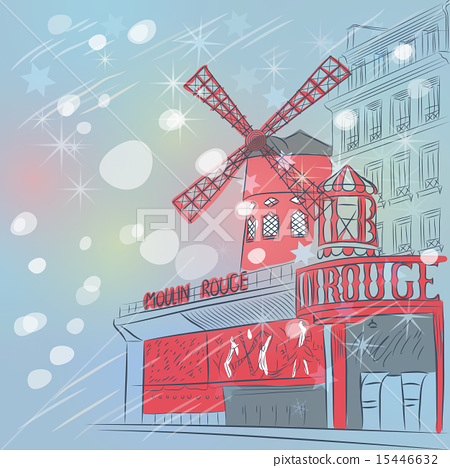 sketch of cityscape with Moulin Rouge in Paris  15446632