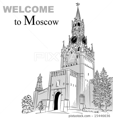Vector black and white sketch of the Moscow Kremlin, Russia 15446636