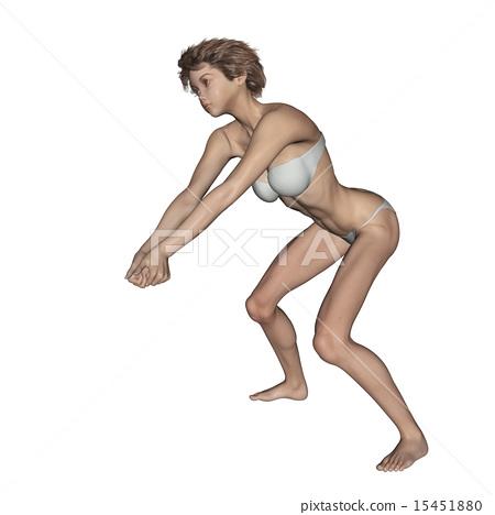 Stock Illustration: volley ball, women, woman