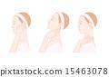 ผู้หญิงที่นวดคอและหูด้วยตนเอง 15463078