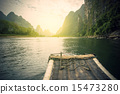China Guilin Lijiang River rafting, beautiful river. 15473280