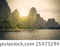 China Guilin Lijiang River rafting, beautiful river. 15473294