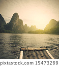 China Guilin Lijiang River rafting, beautiful river. 15473299
