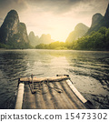 China Guilin Lijiang River rafting, beautiful river. 15473302