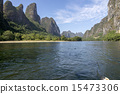 China Guilin Lijiang River rafting, beautiful river. 15473306