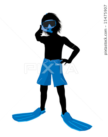 Boy Snorkel Silhouette Illustration 15475907