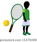African American Teen Tennis Player Illustration 15476498