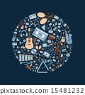 music flat icons in circle 15481232