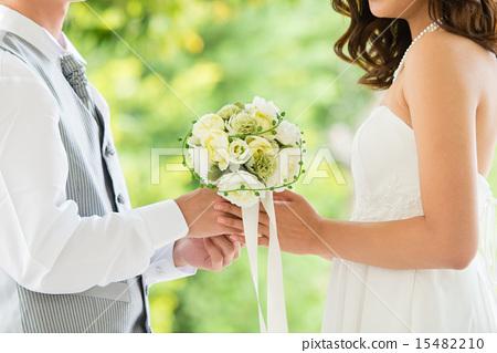 결혼식, 웨딩 드레스, 부케 15482210
