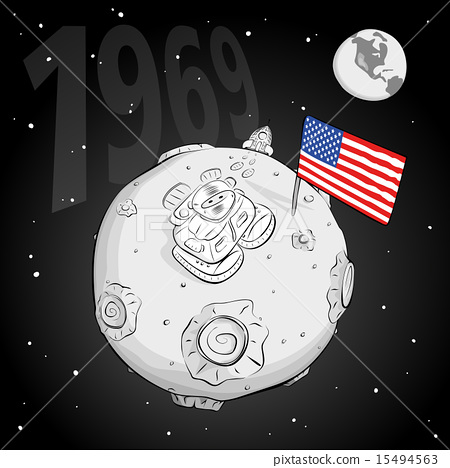astronaut whith flag USA on the moon bw 15494563