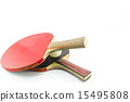 Two table tennis rackets and a ball isolated 15495808