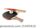 Two table tennis rackets and a ball isolated 15495810
