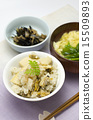 Menu of cooked rice with clams and bamboo shoots 15509893