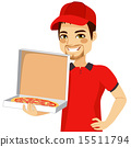 Pizza Delivery Man Holding Box 15511794