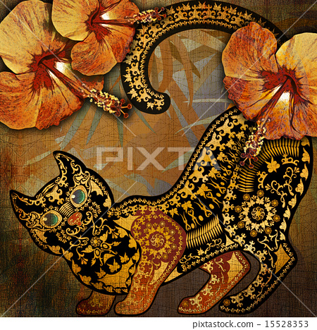 animal pattern, floral fragments, tropical cat 15528353