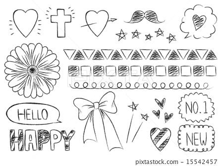 手寫的塗鴉般的插圖素材像一個簡單時尚可愛的鉛筆與娘娘腔的插圖素材 15542457