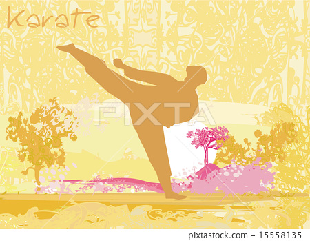 Stock Illustration: karate man silhouette Grunge poster