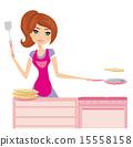 Chef girl fries pancakes on Shrovetide 15558158