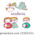Newborn doodle Icon set  15564151