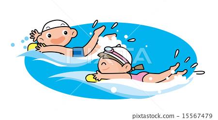 수영을하는 남자와 여자 15567479