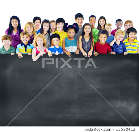 Stock Photo: Multi-Ethnic Group of Children Holding Empty Blackboard