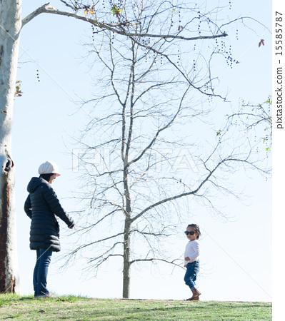 เดิน,แม่,ฤดูหนาว 15585787