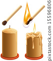 Set match and candle. New and burns 15596806