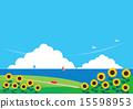 배경 소재 (가로) - 해바라기와 바다가 보이는 풍경 15598953