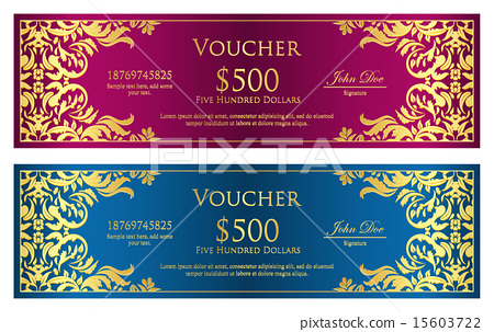 Magenta and blue voucher with vintage ornament 15603722