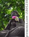 石佛像 佛像 绣球花 15605230