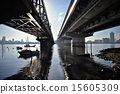 elevated railway, river, water surface 15605309