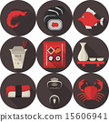 Flat vector icons for japanese restaurant 15606941
