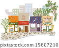 shopping strip, shop, street (of stores and houses) 15607210