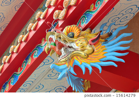 Old Chinese dragon statue on the shrine. 15614279