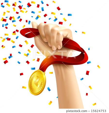 Hand holding winners medal award 15624753